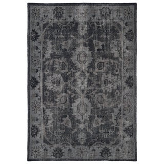 Hand-Knotted Vintage Replica Black Wool Rug (5'6 x 8'6)