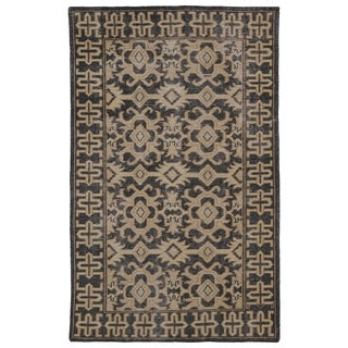 Hand-Knotted Vintage Replica Chocolate Brown Wool Rug (5'6 x 8'6)