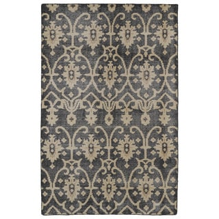 Hand-Knotted Vintage Replica Charcoal Wool Rug (9'0 x 12'0)