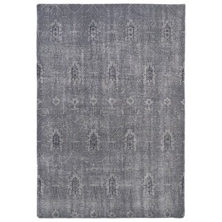 Hand-Knotted Vintage Replica Grey Wool Rug (8'0 x 10'0)
