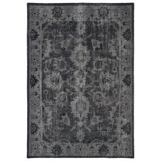 Hand-Knotted Vintage Replica Black Wool Rug (2'0 x 3'0)