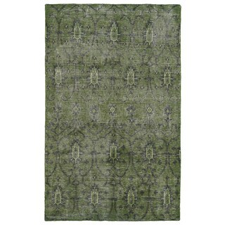 Hand-Knotted Vintage Replica Green Wool Rug (2'0 x 3'0)