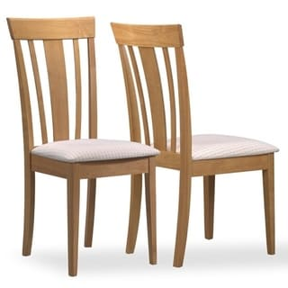 Beige Upholstered Maple Chairs (Set of 2)