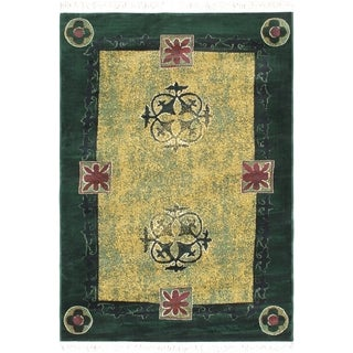 Alicante Dark Green Bordered Abstract Rug (5'3 x 7'4)