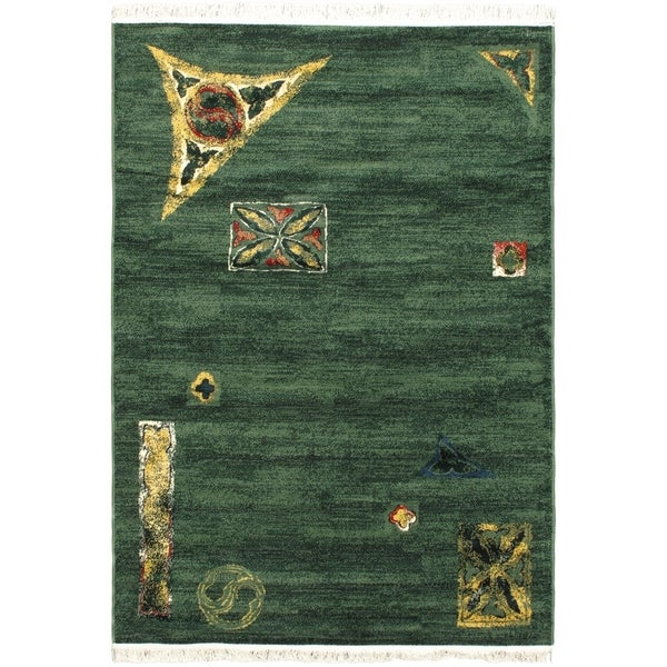 Alicante Dark Green Abstract Stamped Area Rug (5'3 x 7'5)