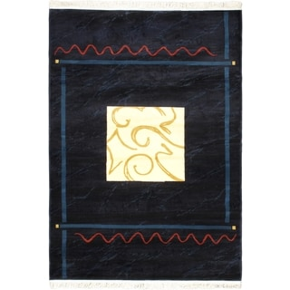 Alicante Navy Abstract Geometric Bordered Rug (5'3 x 7'4)