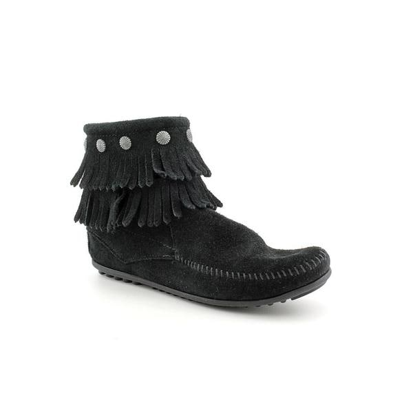 Minnetonka Women's 'Double Fringe Side Zip' Leather Boots