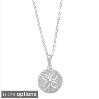 La Preciosa Sterling Silver 1/10ct TDW Sand Dollar Diamond Necklace (I-J, I2-I3)