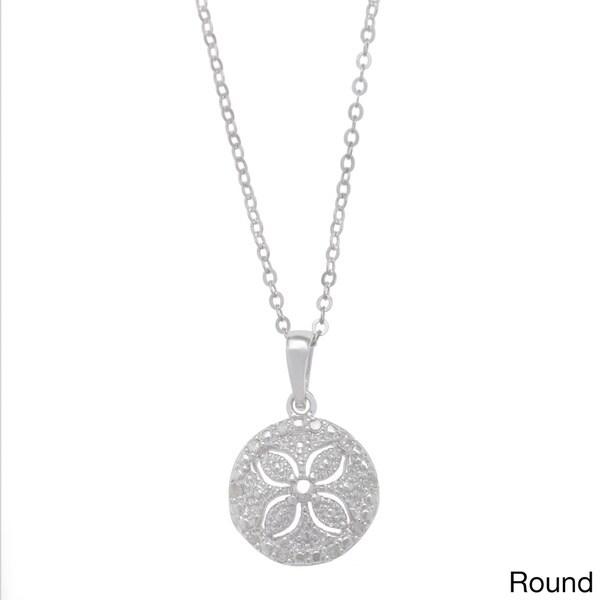 La Preciosa Sterling Silver 1/10ct TDW Sand Dollar Diamond Necklace (I-J, I2-I3)