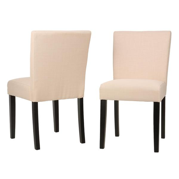 Cortesi Home Beige Linen Low Back Dining Chair (Set of 2)