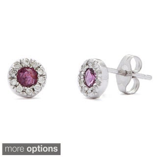 Kabella Luxe 14k White Gold 1/10ct TDW Round Diamond Ruby or Sapphire Halo Stud Earrings (I-J, I1-I2)