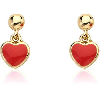 Little Miss Twin Stars 14k Goldplated I Love My Jewels Heart Dangle Earrings