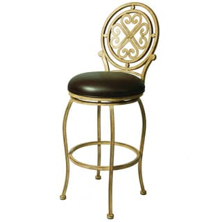 Island Falls Metal Frame Medallion-back Swivel Bar Stool