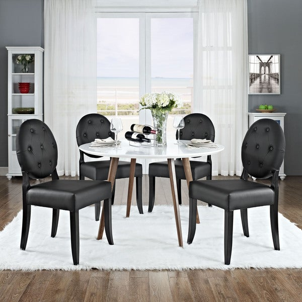 Black Button-tufted Dining Side Chairs (Set of 4)