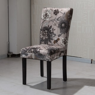 HLW Arbonni Cream Grey Floral Modern Parson Chairs (Set of 2)