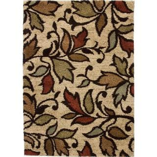 Spring Leaves and Scrolls Ivory Shag Rug (3'3' x 4'7)