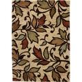 Spring Leaves and Scrolls European Floral Ivory, Red, Green, and Blue Shag Area Rug (5' x 7')