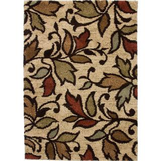 Spring Leaves and Scrolls Ivory Shag Rug (8'2 x 9'10)