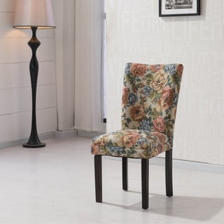 HLW Arbonni Rose Floral Modern Parson Chairs (Set of 2)