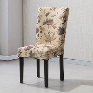 HLW Arbonni Brown Floral Modern Parson Chairs (Set of 2)