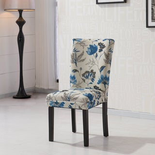 HLW Arbonni Blue Floral Fabric Modern Parson Chairs (Set of 2)