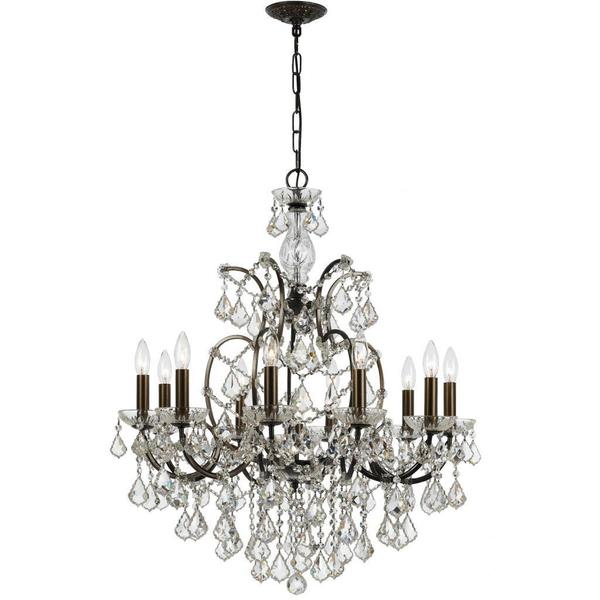 Crystorama Filmore Collection 10-light Bronze/ Crystal Chandelier 12700073