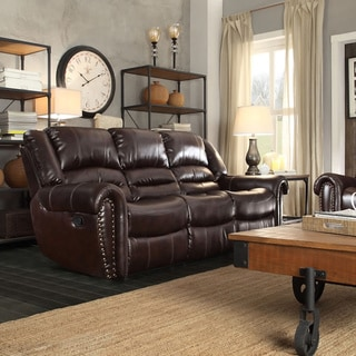 TRIBECCA HOME Isaac Bonded Leather Double Reclining Sofa