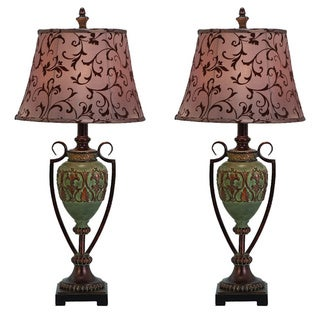 Casa Cortes Napa Scrolls Handcrafted Table Lamp (Set of 2)