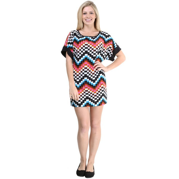24/7 Comfort Apparel Women's Multicolored Print Short Sleeve Short Dress