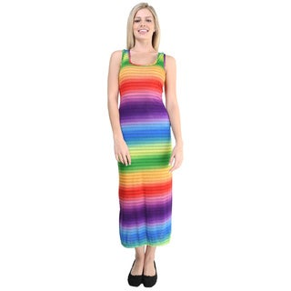 24/7 Comfort Apparel Women's Rainbow Stripe Print Sleeveless Maxi Dress