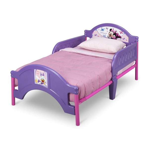 girls toddler bed kids side rail minnie mouse purple. Black Bedroom Furniture Sets. Home Design Ideas
