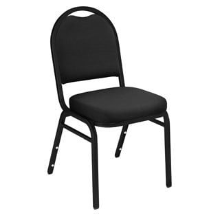 Black Upholstered Stacking 24-chair and Dolly Set