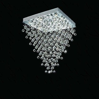 Large Square Falling Rain 16-light Chrome Crystal Chandelier