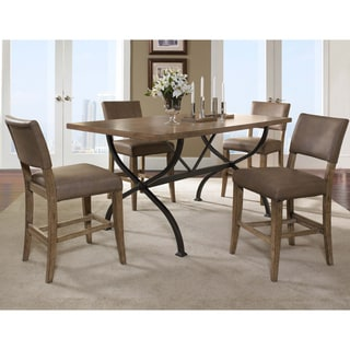 Charleston 5-piece Counter Height Rectangle Wood Dining Set with Parson Stool