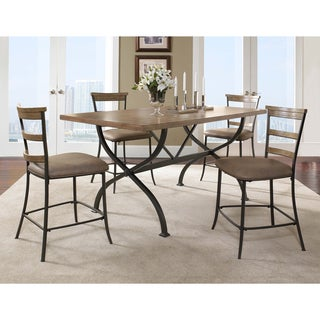 Charleston 5-piece Counter Height Rectangle Wood Dining Set with Ladder Back Stool