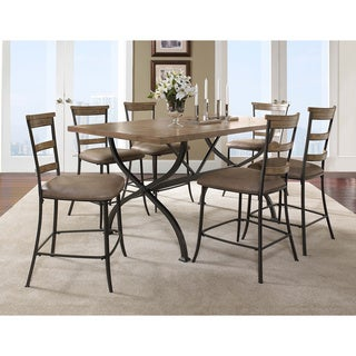Charleston 7-piece Counter Height Rectangle Wood Dining Set with Ladder Back Stool