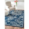 nuLOOM Hand-hooked Indoor/ Outdoor Floral Blue Rug (5' x 8')