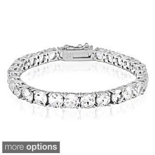 Glitzy Rocks 28ct TGW White Topaz Tennis Bracelet