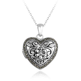 Glitzy Rocks Sterling Silver Marcasite Heart Floral Locket Necklace
