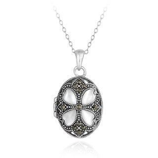 Glitzy Rocks Sterling Silver Marcasite and Mother of Pearl Clover Locket Necklace