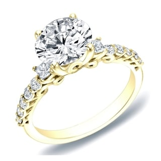 Auriya 14k Gold 1 2/5ct TDW Certified Diamond Traditional Engagement Ring (H-I, SI1-SI2)