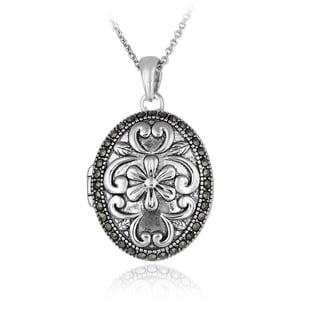 Glitzy Rocks Sterling Silver Marcasite Flower Locket Necklace