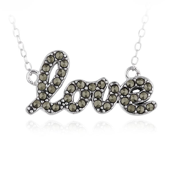 Glitzy Rocks Sterling Silver Marcasite Love Necklace