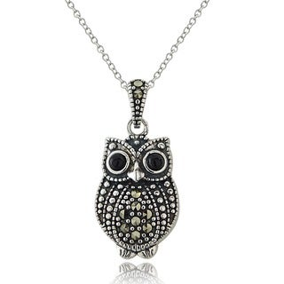 Glitzy Rocks Sterling Silver Marcasite and Onyx Owl Necklace