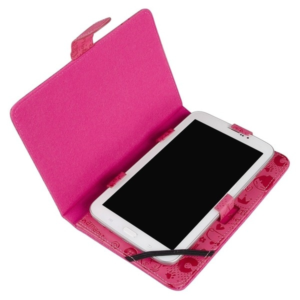 INSTEN Hot Pink Cute PU Leather Universal Horizontal Stand Phone Case Cover for 7-inch Tablet