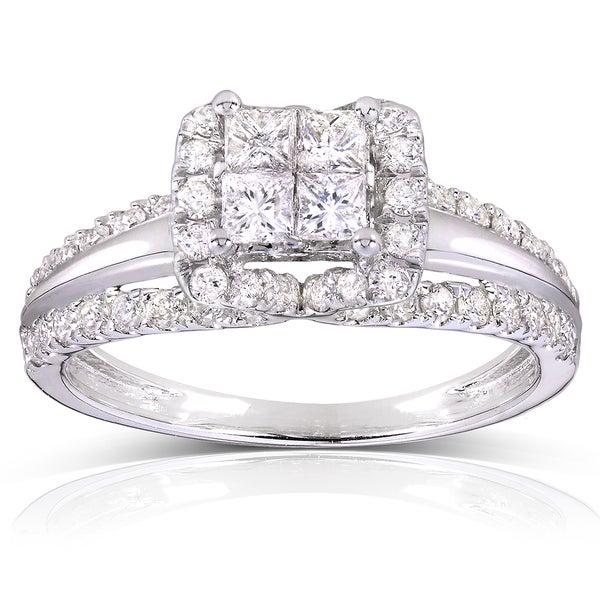 Annello 14k White Gold 1ct TDW Princess Quad Diamond Engagement Ring (H-I, I1-I2)