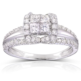 Annello 14k White Gold 1ct TDW Princess Quad Diamond Engagement Ring (H-I, I1-I2)