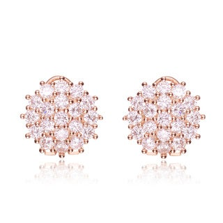 Collette Z Rose Goldplated Sterling Silver Cubic Zirconia Round Cluster Earrings