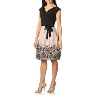 S.L. Fashions Women's Draped Cross V-neck Belted Party Dress