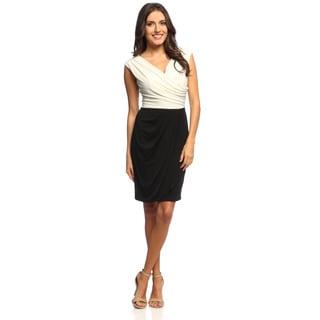S.L. Fashions Womens Draped Neck Dress
